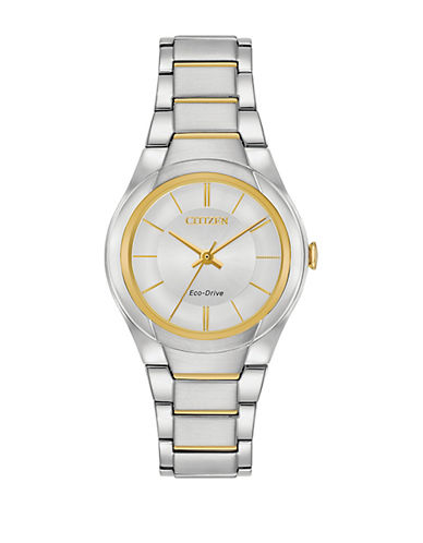 Citizen Analog Goldtone Trim Stainless Steel Bracelet Watch-MULTI-One Size