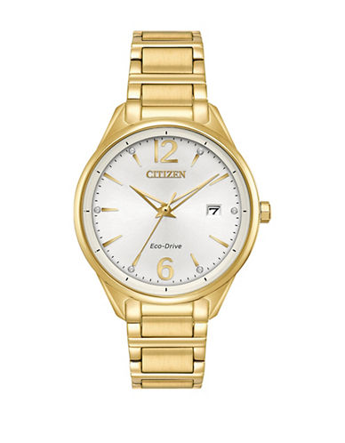 Citizen Analog Swarovski Crystal Marker Goldtone Bracelet Watch-GOLD-One Size