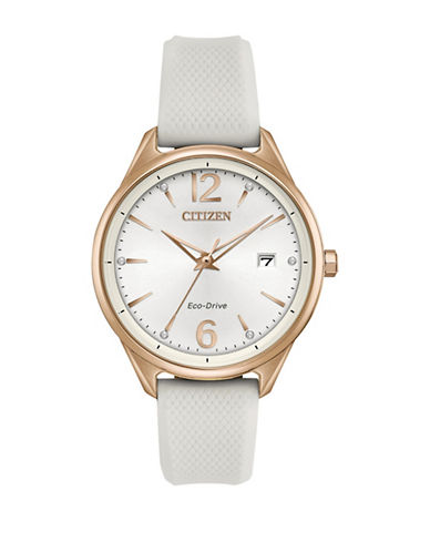Citizen Chandler Rose Goldtone Stainless Steel White Silicone Strap Watch-ROSE GOLD-One Size