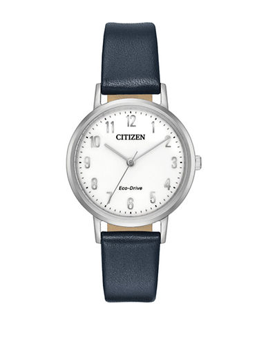 Citizen Chandler Stainless Steel Navy Leather Strap Watch-SILVER-One Size
