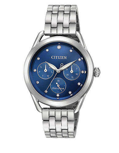 Citizen Drive Long-Term Relationship Swarovski Crystal and Stainless Steel Bracelet Watch-SILVER-One Size