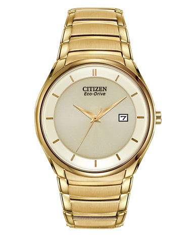 Citizen Analog Eco-Drive Dress Goldtone Bracelet Watch-GOLD-One Size
