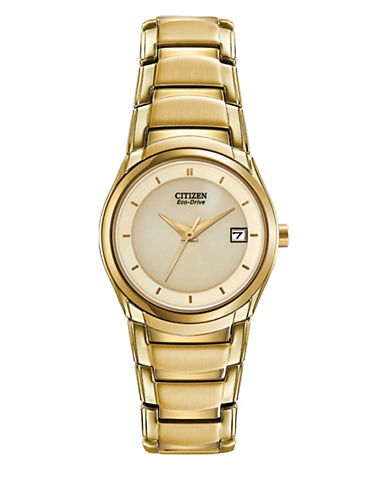 Citizen Analog Eco-Drive Champ Goldtone Bracelet Watch-GOLD-One Size