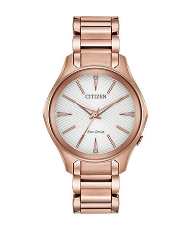 Citizen Analog Chevron Dial Rose-Goldtone Bracelet Watch-ROSE GOLD-One Size