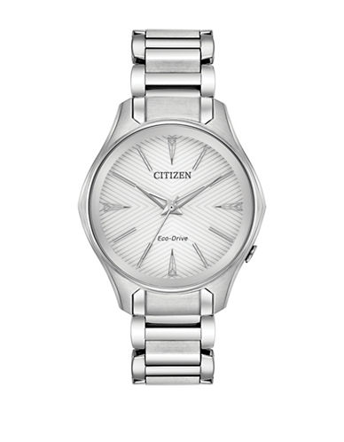 Citizen Analog Chevron Dial Stainless Steel Bracelet Watch-SILVER-One Size