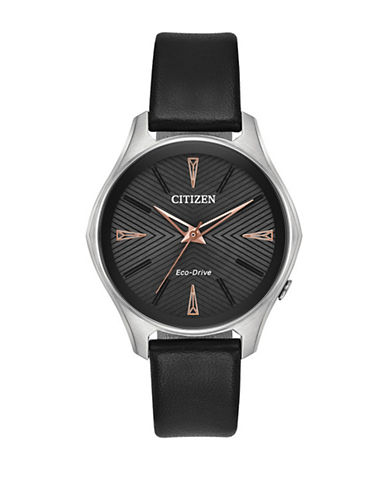 Citizen Modena Stainless Steel Black Vegan Leather Strap-SILVER-One Size