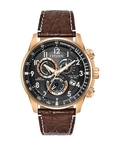Citizen Chronograph Perpetual Brown Leather Strap Watch-GOLDTONE-One Size