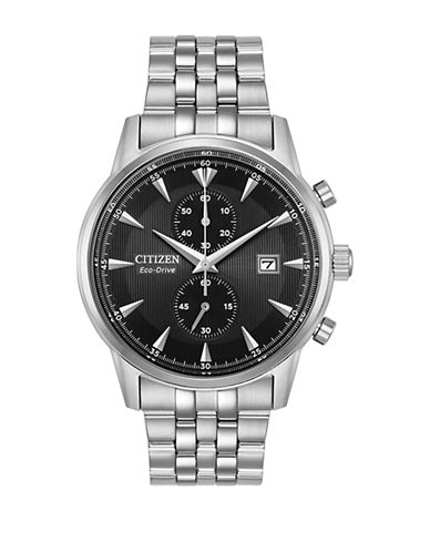 Citizen Chronograph Black Dial Stainless Steel Bracelet Watch-SILVER-One Size