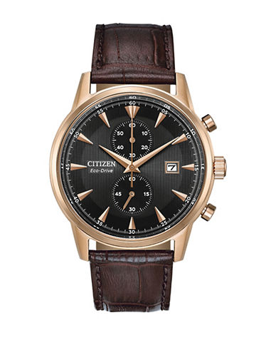 Citizen Chronograph Black Dial Brown Leather Strap Watch-BROWN-One Size