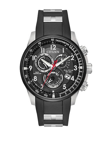 Citizen Chronograph Perpetual Black Ion-Plated Stainless Steel Link Bracelet Watch-BLACK-One Size