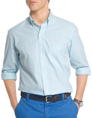 Izod Classic Fit Poplin Mini Check Shirt-LIGHT BLUE-X-Large