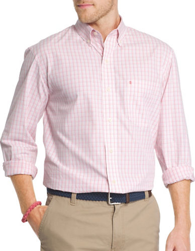 Izod Classic Fit Poplin Mini Check Shirt-ROSE-X-Large