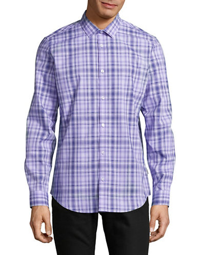 Calvin Klein Plaid Sport Shirt-PURPLE-Small
