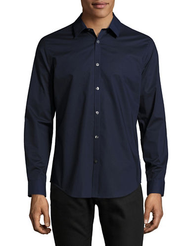 Calvin Klein Slim-Fit Tonal Interlock Sport Shirt-BLUE-X-Large