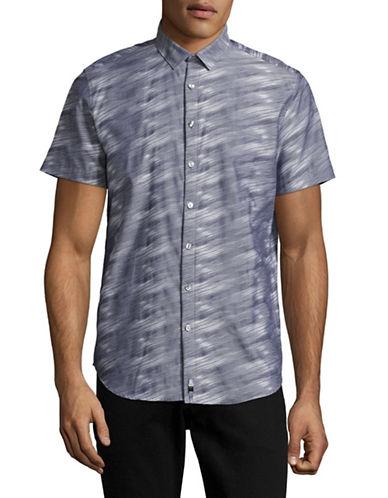 Calvin Klein Yarn-Dyed Jacquard Shirt-BLUE-Medium
