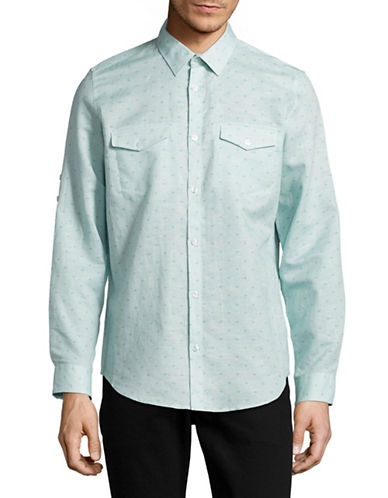 Calvin Klein Printed Cotton-Linen Button-Up Shirt-BLUE-X-Large