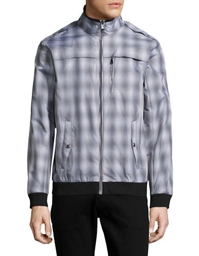 Calvin Klein Plaid Bomber Jacket-GREY-X-Large