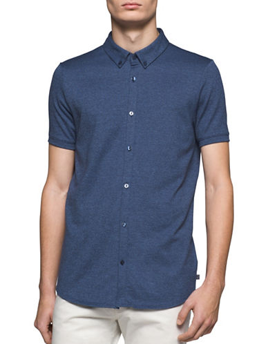 Calvin Klein Short Sleeve Button-Down Shirt-BLUE-X-Large