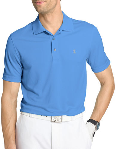 Izod Poly-Grid Golf Polo-BLUE-X-Large