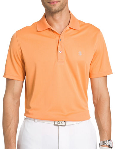 Izod Poly-Grid Golf Polo-ORANGE-Small