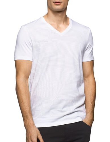 Calvin Klein Slim-Fit Striped Tee-WHITE-X-Large 89159129_WHITE_X-Large