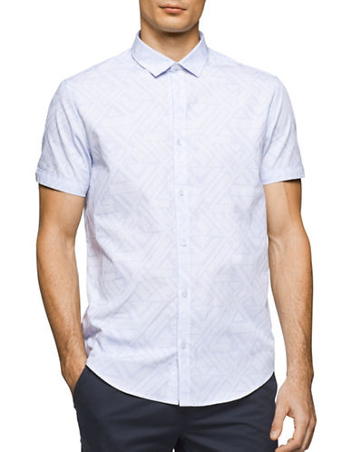 Calvin Klein Short Sleeve Cotton Shirt-WHITE-Large