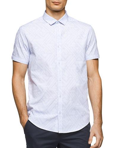 Calvin Klein Short Sleeve Cotton Shirt-WHITE-Small