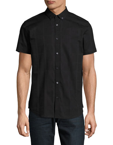Calvin Klein Tonal Plaid Sport Shirt-BLACK-Small 89176094_BLACK_Small