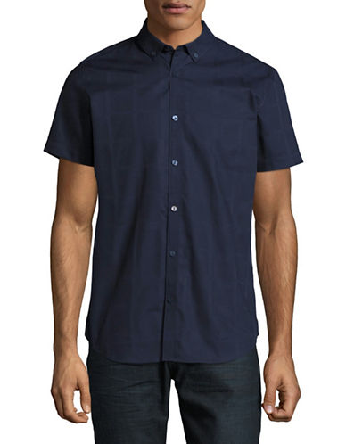 Calvin Klein Tonal Plaid Sport Shirt-BLUE-Large