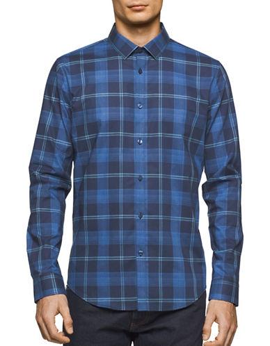 Calvin Klein Shadow Plaid Sport Shirt-BLUE-Small