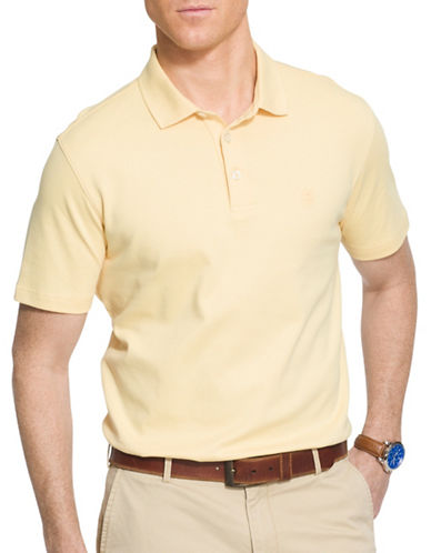 Izod Solid Interlock Polo-YELLOW-Medium