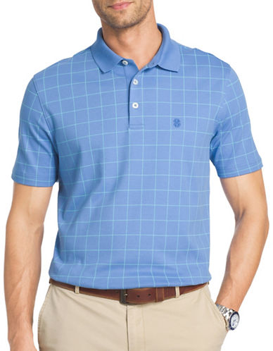 Izod Windowpane Interlock Polo-LIGHT BLUE-X-Large