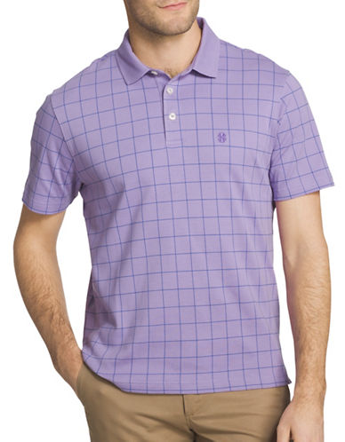 Izod Windowpane Interlock Polo-PURPLE-Large