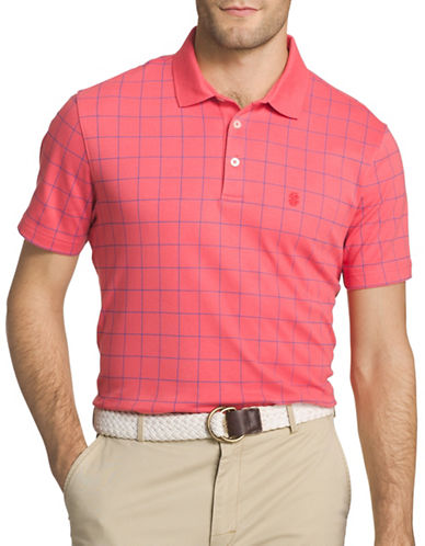 Izod Windowpane Interlock Polo-PINK-Medium