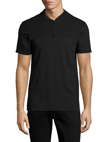 Calvin Klein Baseball Quarter Zip T-Shirt-BLACK-Small 89003023_BLACK_Small