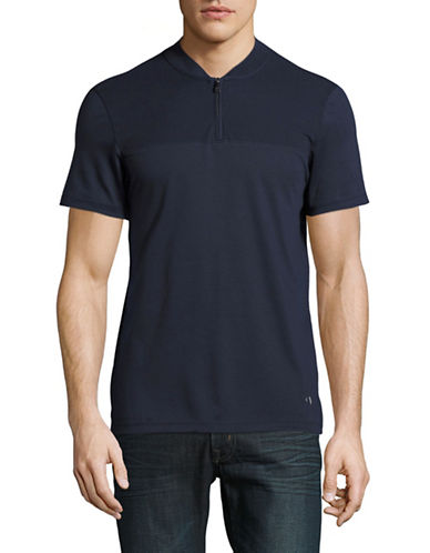 Calvin Klein Baseball Quarter Zip T-Shirt-BLUE-Small