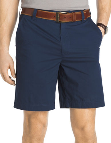 Izod Seaport Poplin Shorts-BLUE-38