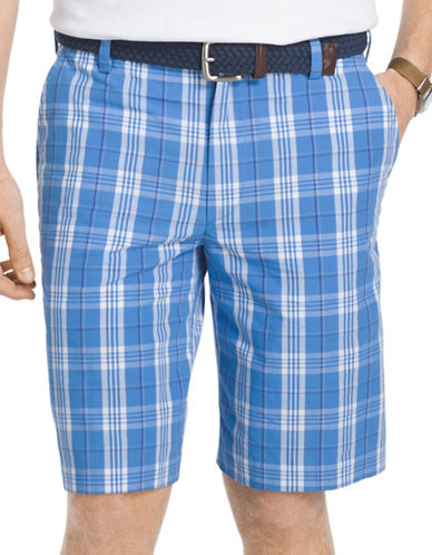 Izod Portsmith Plaid Shorts-LIGHT BLUE-38