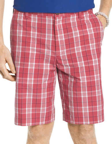 Izod Portsmith Plaid Shorts-RED-36