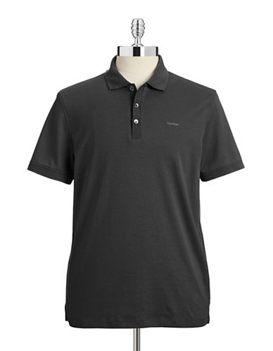 Calvin Klein Cotton Jersey Polo Shirt-BLACK-Medium