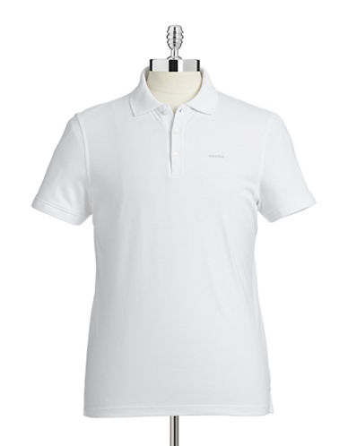Calvin Klein Cotton Jersey Polo Shirt-WHITE-Medium