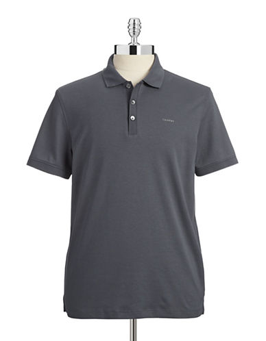 Calvin Klein Cotton Jersey Polo Shirt-GREY-X-Large