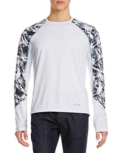 Calvin Klein Printed Sleeve Mesh Active Top-WHITE-X-Large 88128482_WHITE_X-Large