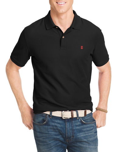 Izod Pique Polo Shirt-BLACK-X-Large