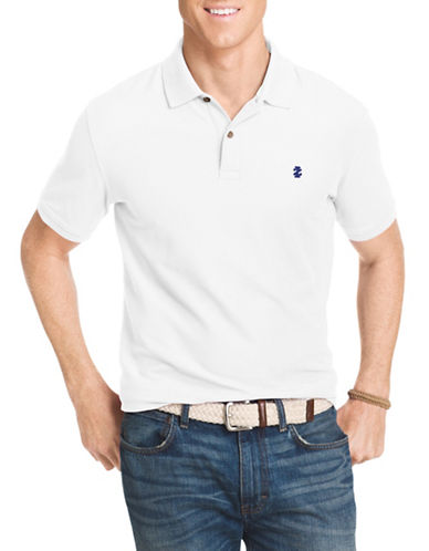Izod Pique Polo Shirt-BRIGHT WHITE-Small