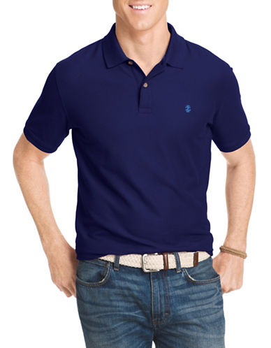 Izod Pique Polo Shirt-PEACOAT BLUE-Medium