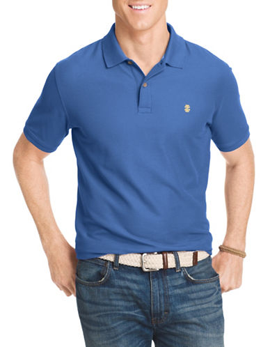 Izod Pique Polo Shirt-BLUE REVIVAL-Small