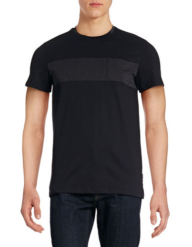 Calvin Klein Jacquard Block Pocket T-Shirt-BLACK-Small 88437979_BLACK_Small