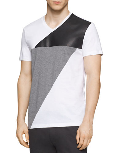 Calvin Klein Faux Leather Colourblock T-Shirt-WHITE-X-Large 88385914_WHITE_X-Large
