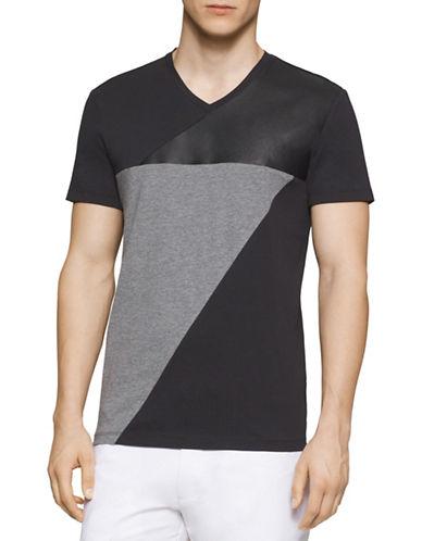 Calvin Klein Faux Leather Colourblock T-Shirt-BLACK-X-Large 88385918_BLACK_X-Large